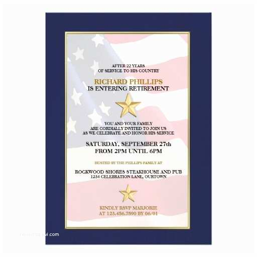 "Military Retirement Invitations Military Retirement Party Invitations 5"" X 7"" Invitation"