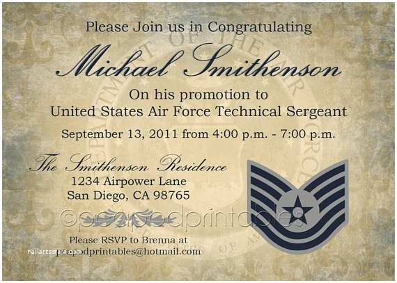 Military Wedding Invitation Wording Samples Items Similar to Military Promotion Party Invitation Any
