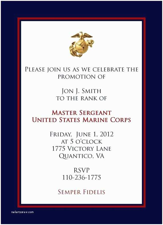 Military Wedding Invitation Wording Samples Marine Promotional Announcement
