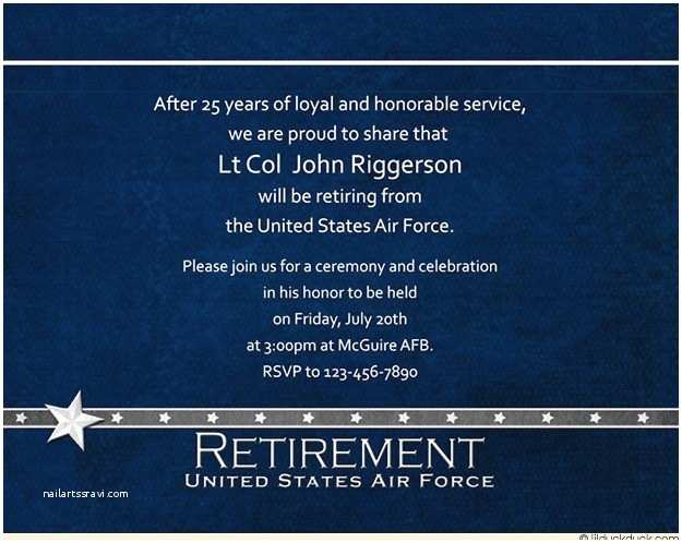 Military Wedding Invitation Wording Samples Military Blue Retirement Invitation Loyal Service