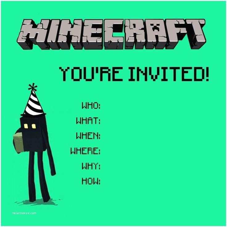 Minecraft Birthday Invitation Template 25 Best Ideas About Minecraft Invitations On Pinterest