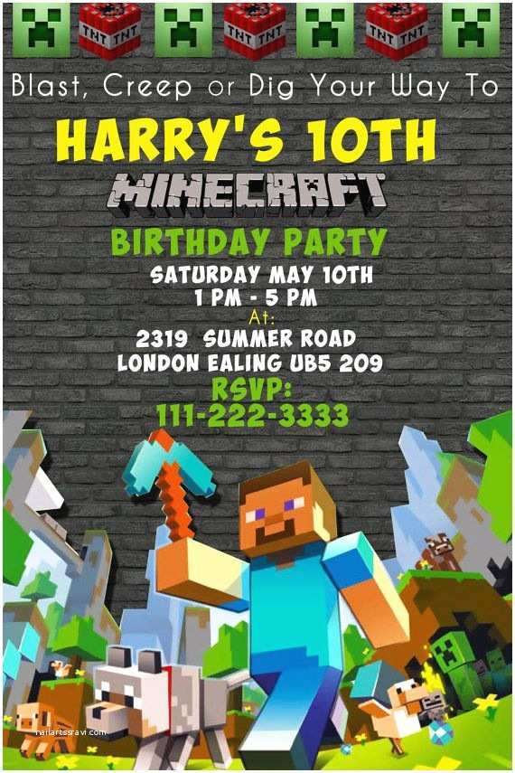 Minecraft Birthday Invitation Template Best 25 Minecraft Invitations Ideas On Pinterest