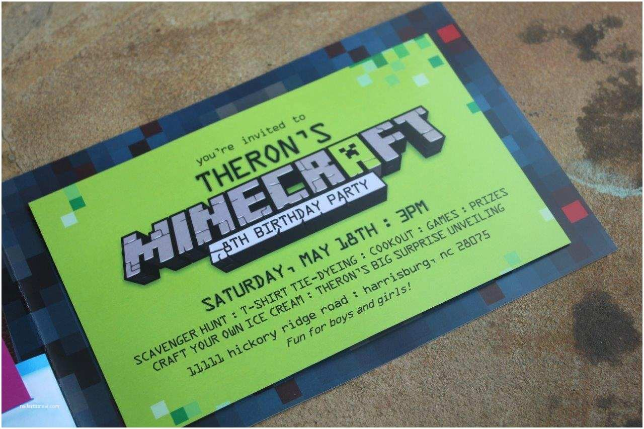 Minecraft Birthday Invitation Template Birthday Party Invitations and Gifts by Fox T Minecraft