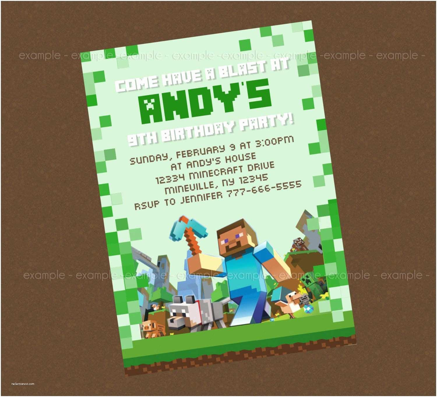 picture relating to Printable Minecraft Invitations known as Minecraft Birthday Invitation Template Minecraft Bash