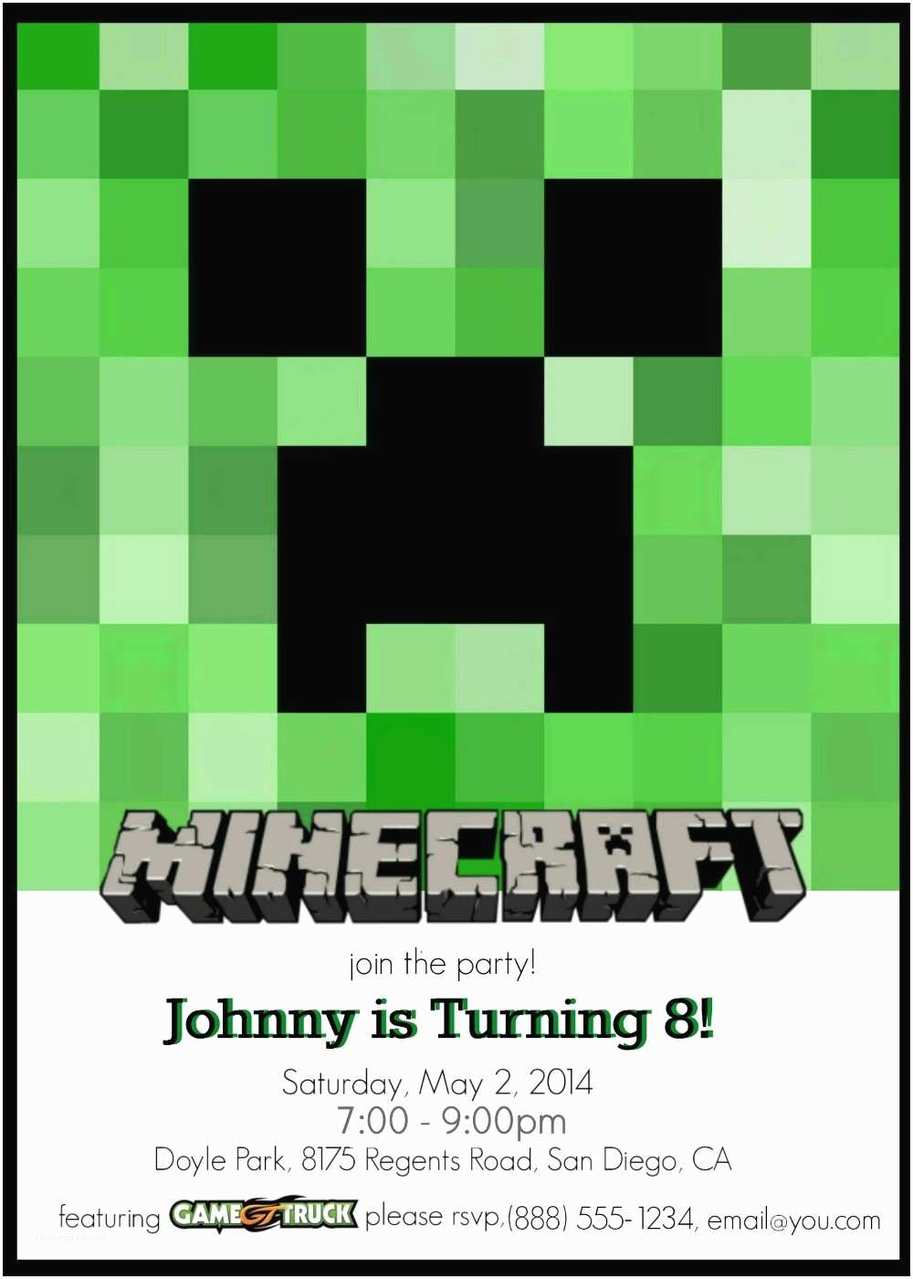 Minecraft Birthday Invitation Template Make Your Own Custom Printable Minecraft Party Invitations
