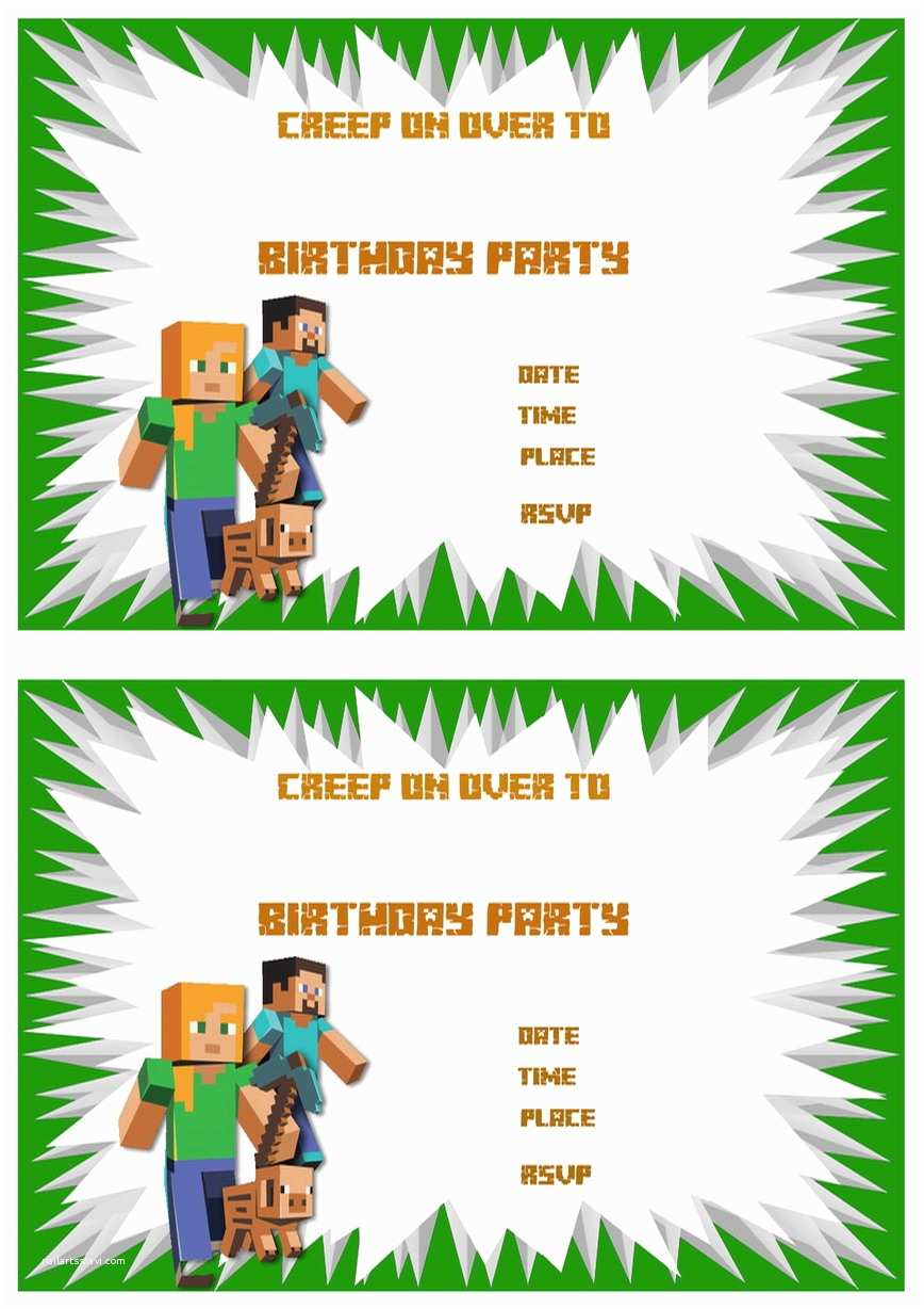image regarding Printable Minecraft Birthday Invitations identified as Minecraft Birthday Invitation Template Minecraft Birthday