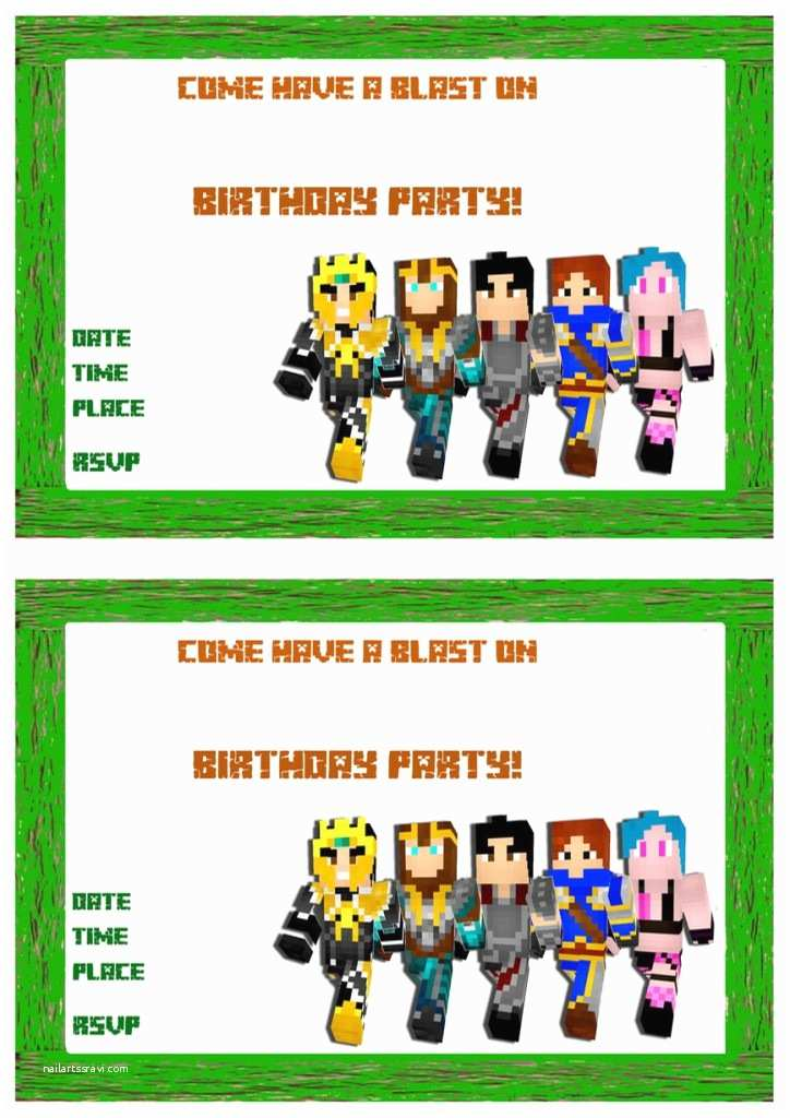 Minecraft Birthday Invitation Template Minecraft Birthday Invitations – Birthday Printable