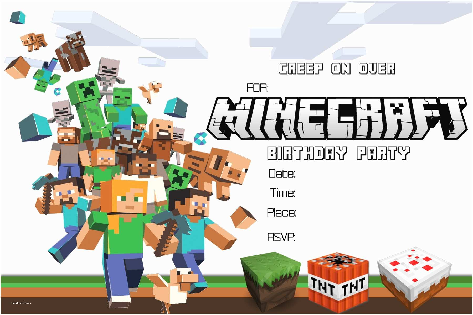 Minecraft Birthday Invitation Template Minecraft Birthday Invitations Minecraft Birthday