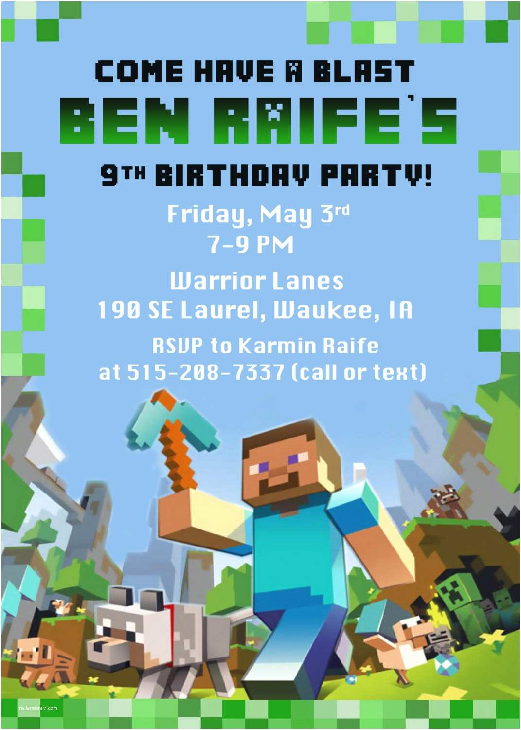 Minecraft Birthday Invitation Template Minecraft Birthday Party Invitation Digital Printable File