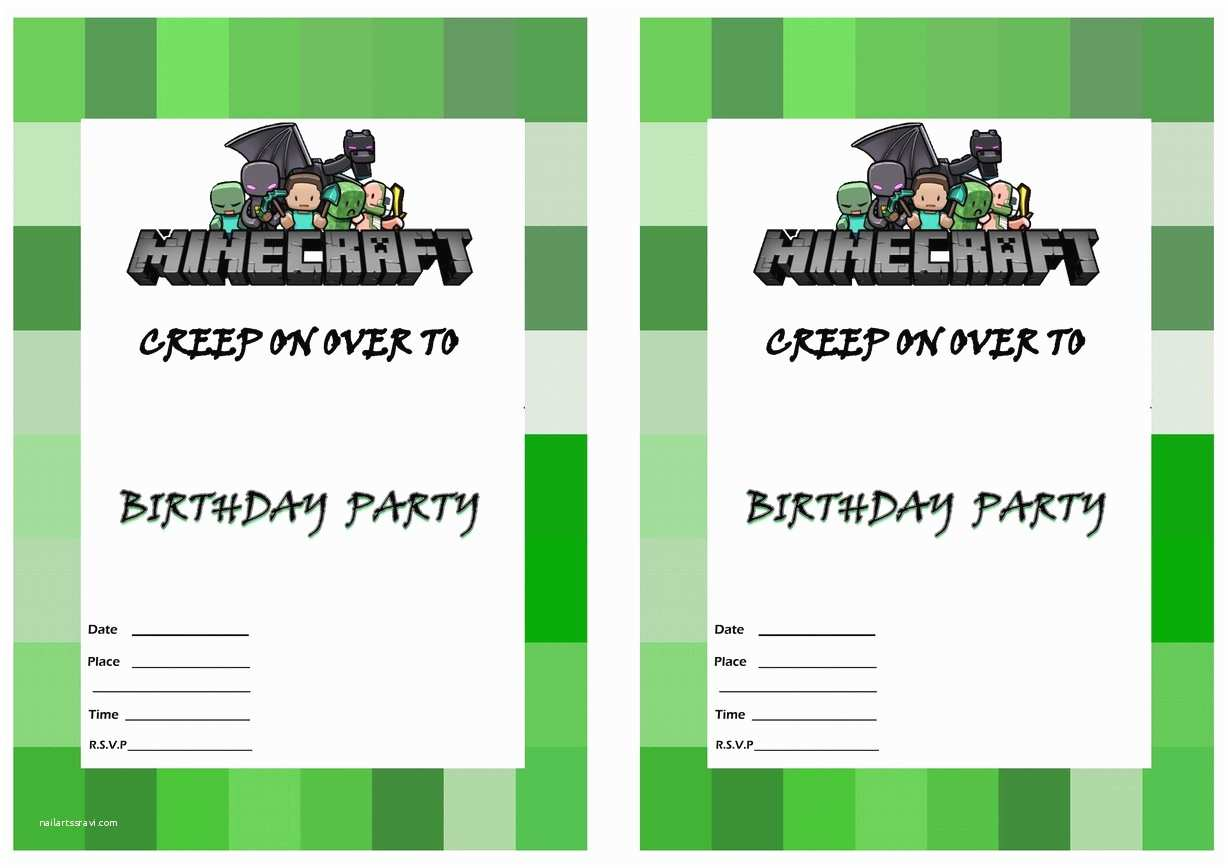 Minecraft Birthday Invitation Template Minecraft Birthday Party Invitation Template