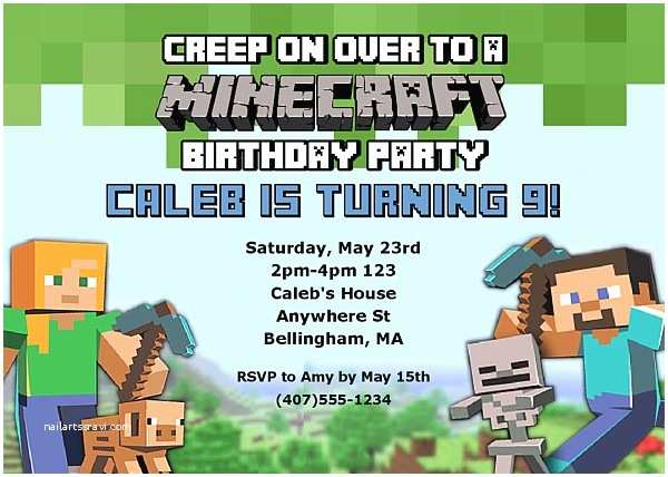 Minecraft Birthday Invitation Template Minecraft Birthday Party Invitations