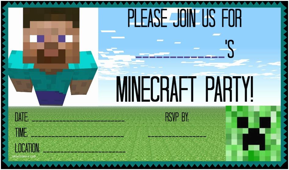 Minecraft Birthday Invitation Template Minecraft Birthday Party Invitations
