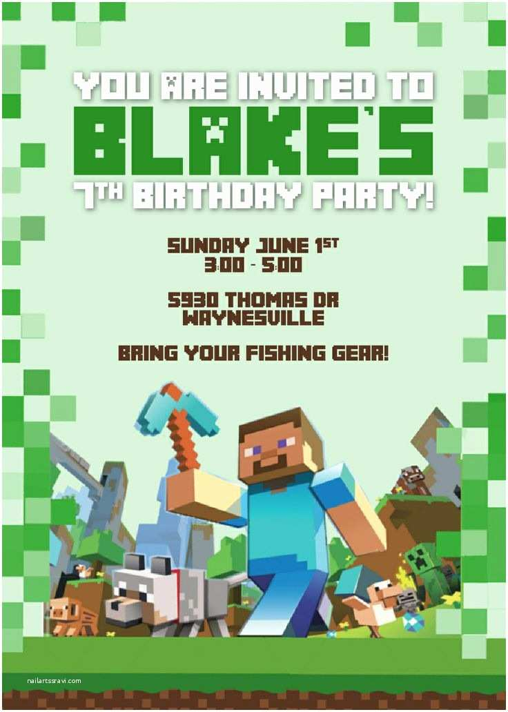 Minecraft Birthday Invitation Template Minecraft Invitation by Designsnow Party