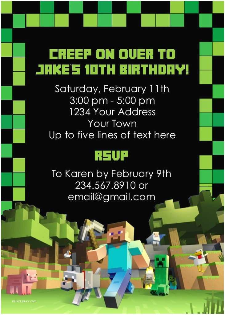 Minecraft Birthday Invitation Template Minecraft Party Invitation Editable — Partygamesplus