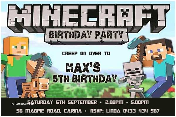 Minecraft Birthday Invitation Template Minecraft theme Boy Birthday Party Invitations
