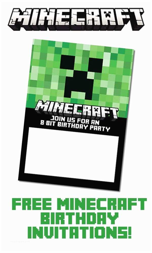 Minecraft Birthday Invitations Free Minecraft Birthday Invitation