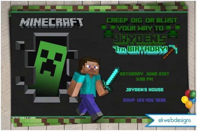 Minecraft Birthday Invitations Minecraft Birthday Invitations Minecraft Inspired Party