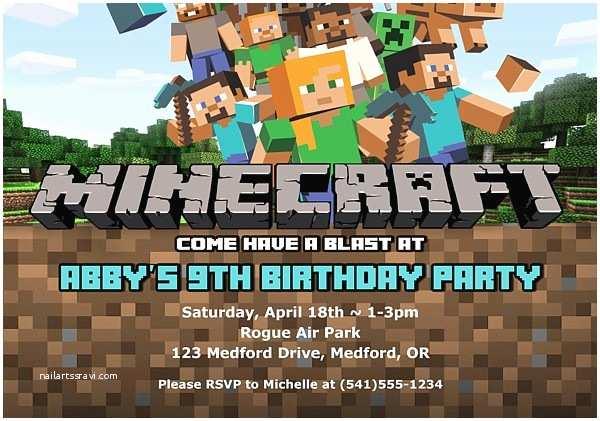 Minecraft Birthday Invitations Minecraft Birthday Party Invitations
