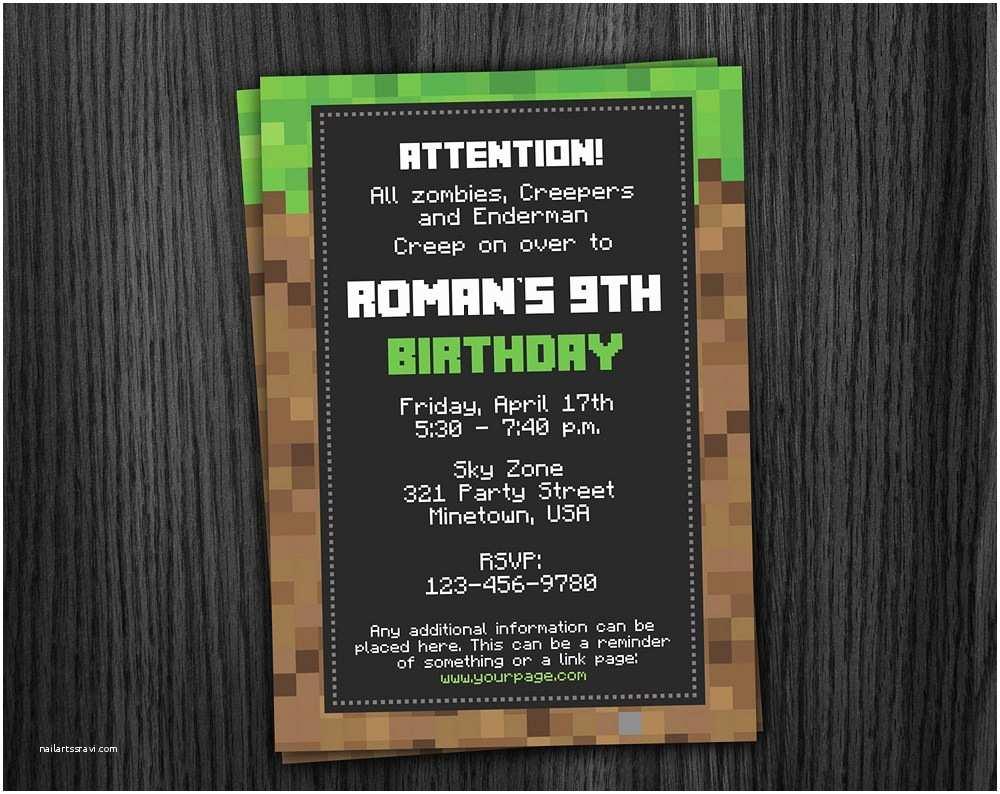 Minecraft Birthday Invitations Phorest Studio Minecraft Invitation Printable Minecraft
