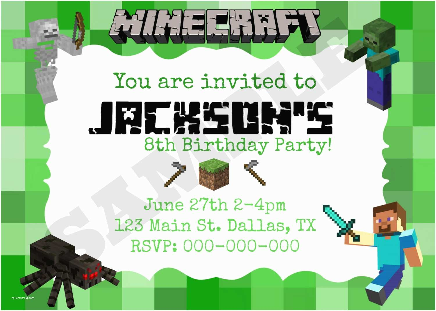 Minecraft Birthday Party Invitations 40th Birthday Ideas Minecraft Birthday Invitation