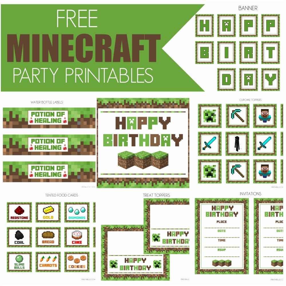 Minecraft Birthday Party Invitations Free Minecraft Printables
