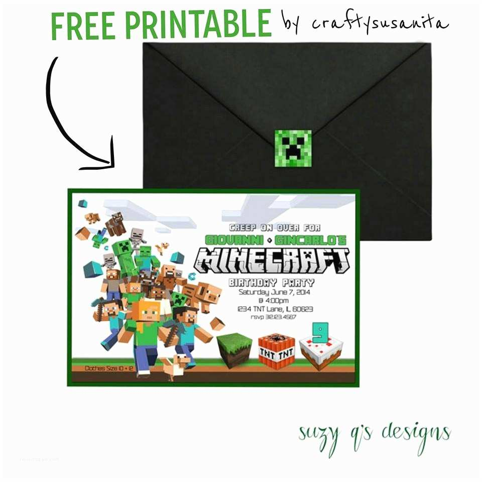 Minecraft Birthday Party Invitations Free Printable Minecraft Birthday Party Invitations