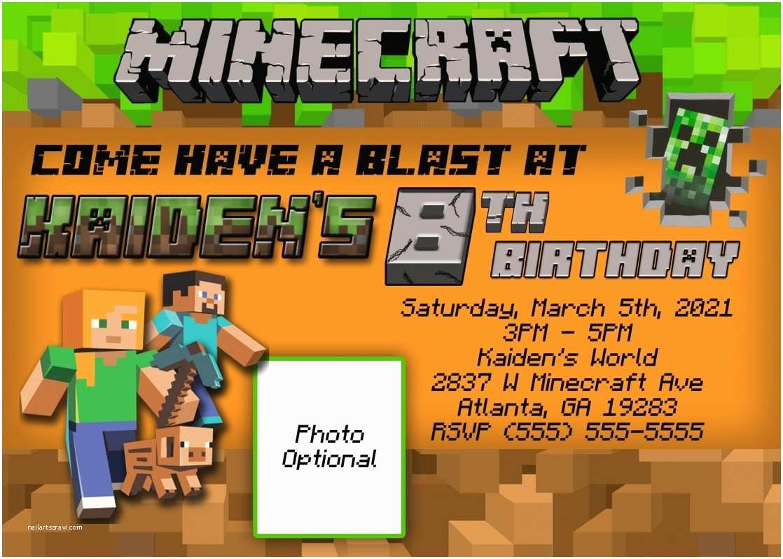 Minecraft Birthday Party Invitations Ideas For Templates Anouk