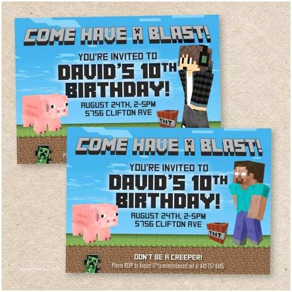 Minecraft Birthday Party Invitations Minecraft Birthday Invitation Etsy