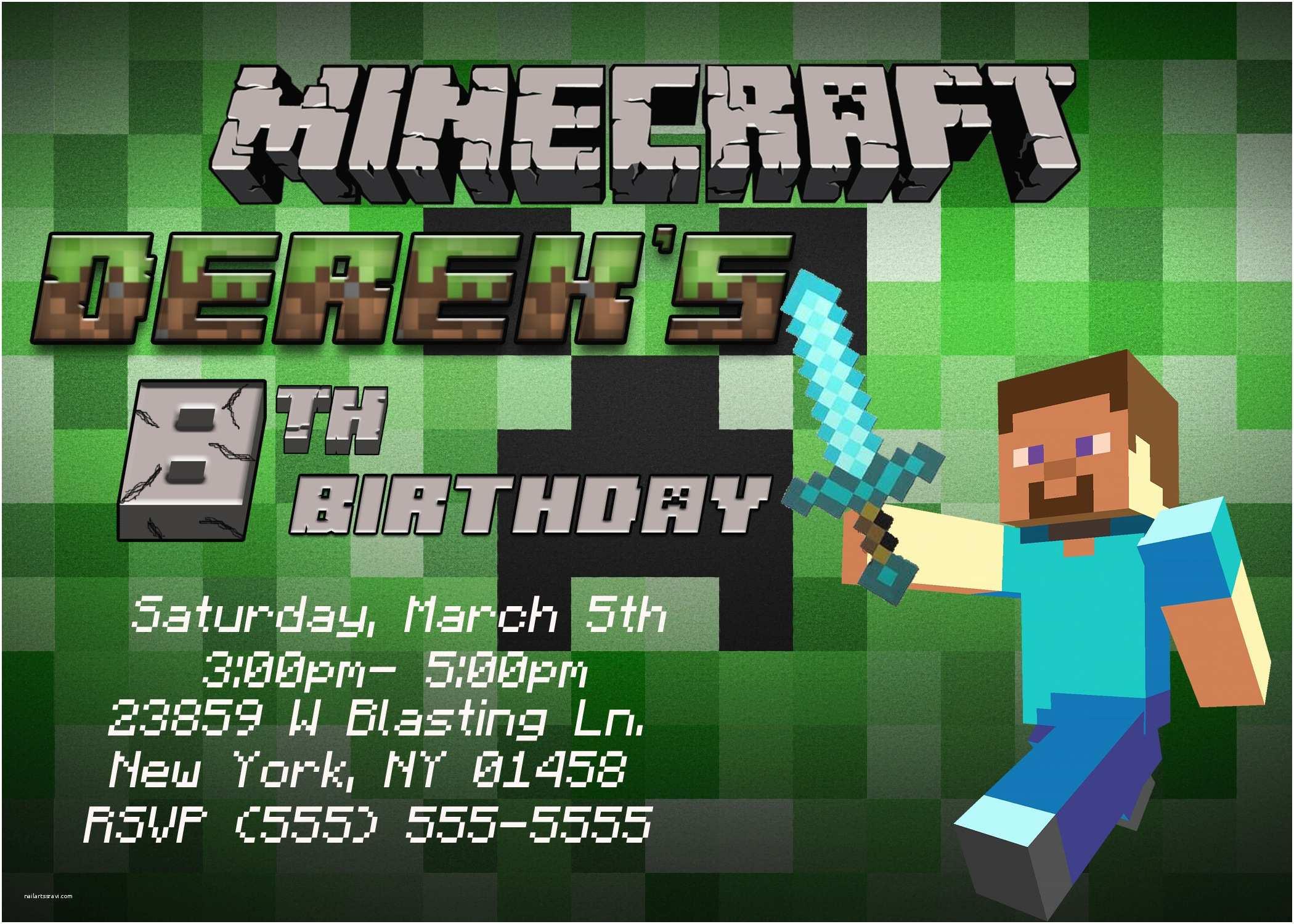 Minecraft Birthday Party Invitations Minecraft Birthday Invitation