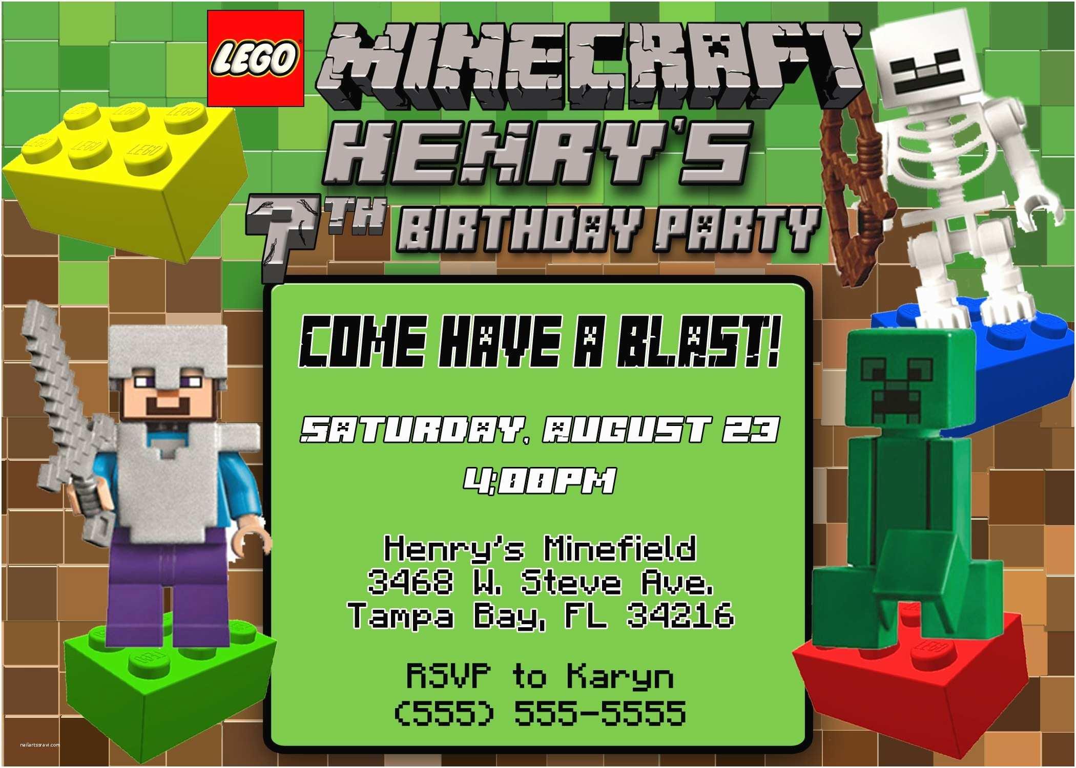 Minecraft Birthday Party Invitations Minecraft Birthday Invitations Minecraft Birthday