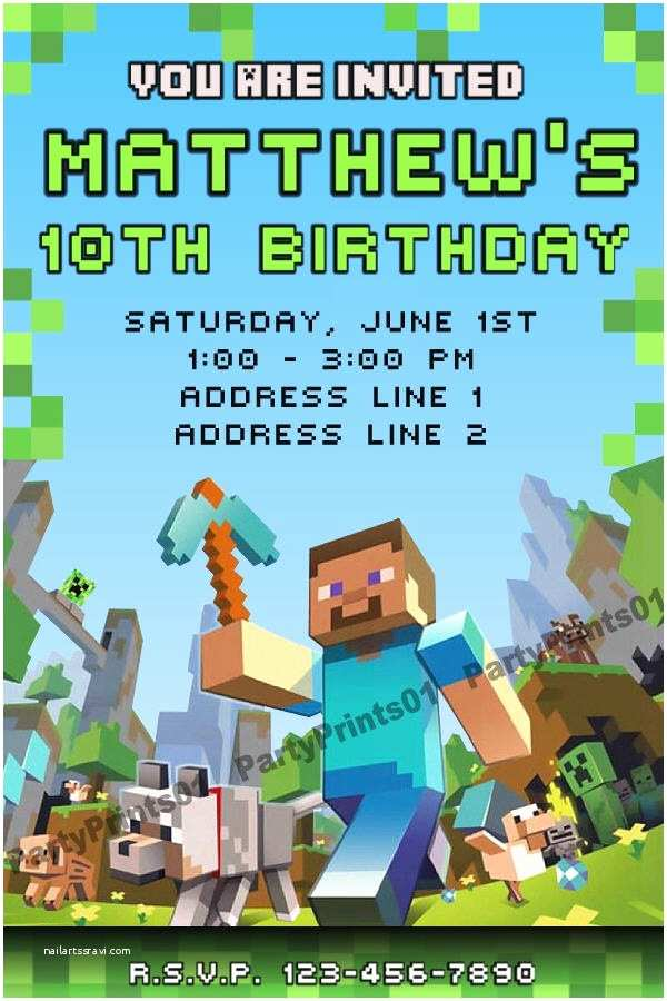 Minecraft Birthday Party Invitations Minecraft Invitations Printable