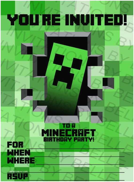 Minecraft Birthday Party Invitations Printable Minecraft Birthday Invitation by
