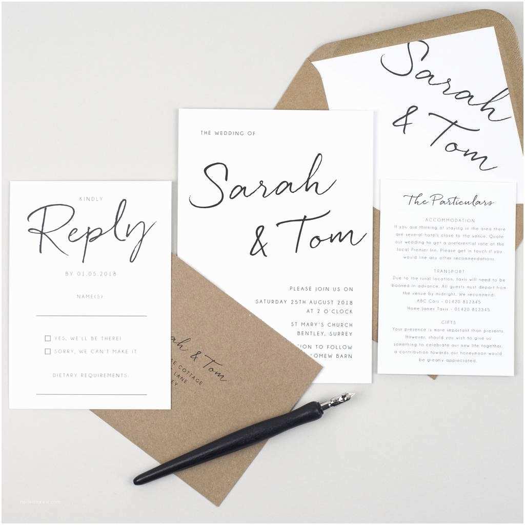 Minimalist Wedding Invitations Minimalist Wedding Invitation by Pear Paper Co