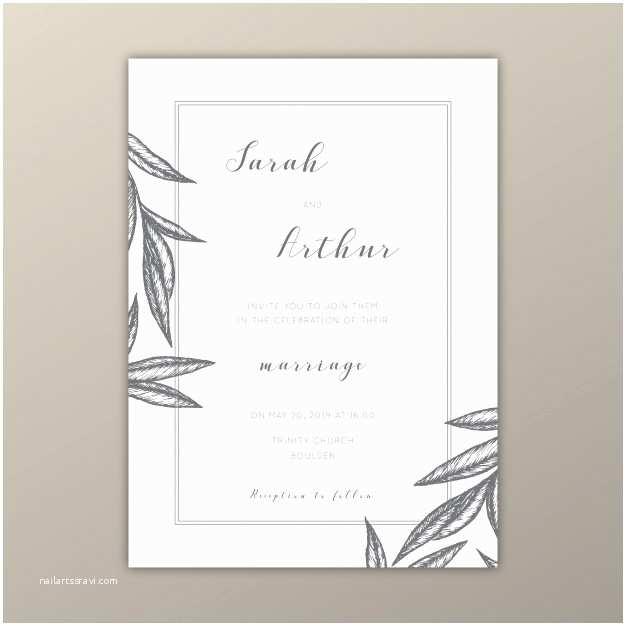 Minimalist Wedding Invitations Minimalist Wedding Invitation Template with Illustrations