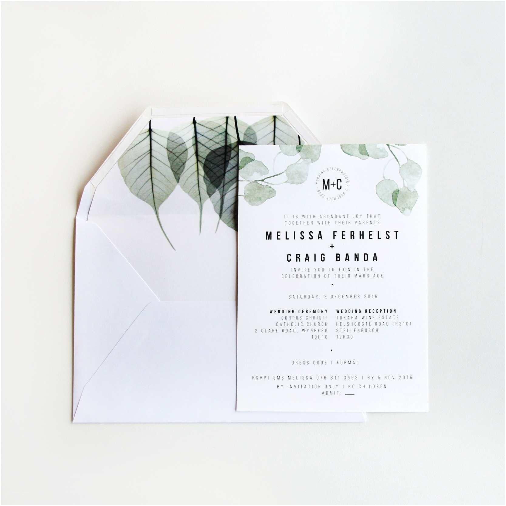 Minimalist Wedding Invitations Modern Minimalist Invitation Set