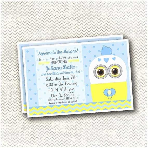 Minion Baby Shower Invitations Despicable Minion Baby Shower Invitation