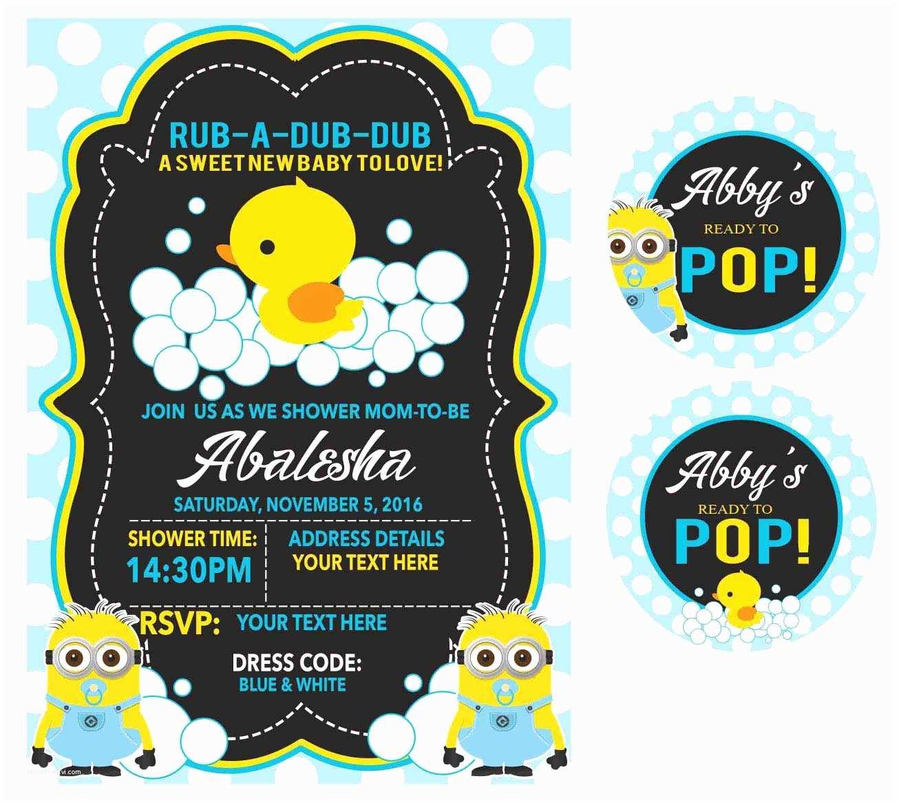 Minion Baby Shower Invitations Minion Duck Baby Shower Invite