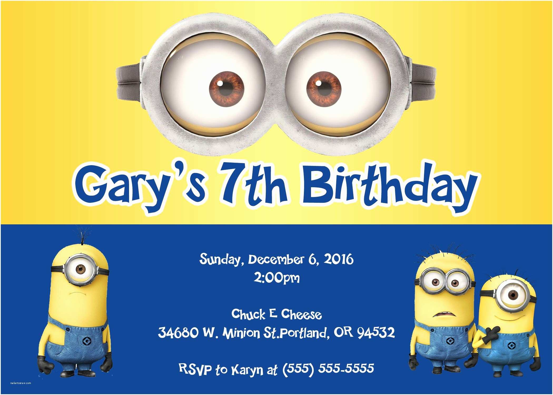 Minion Birthday Invitations Minions Birthday Invitations