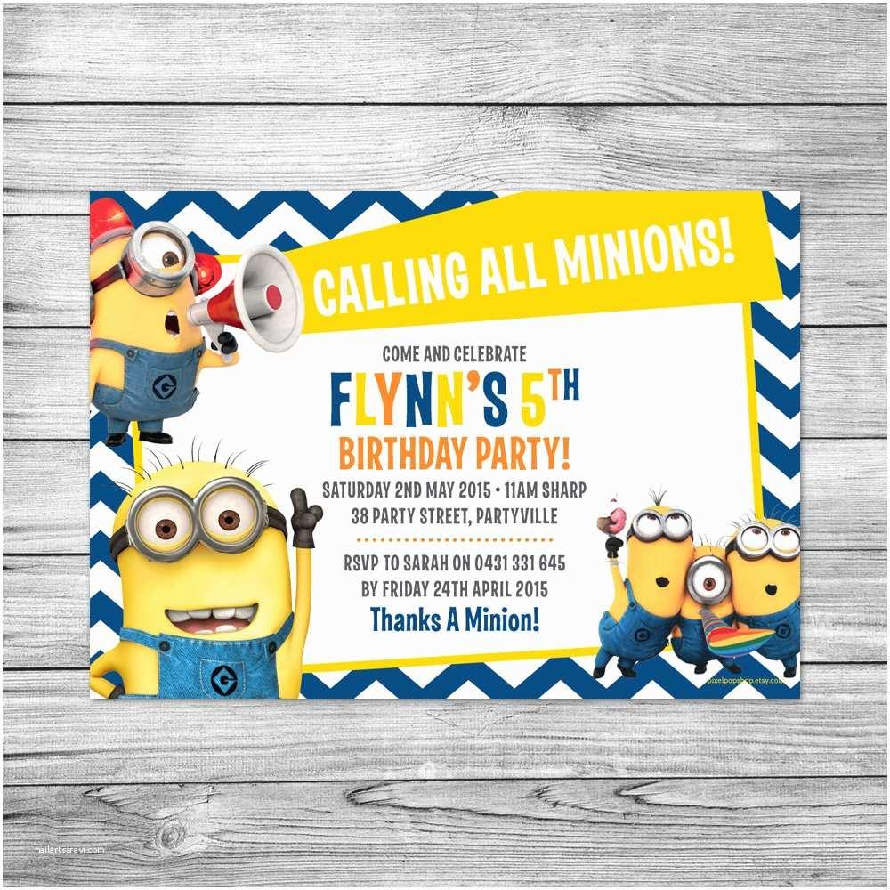 Minion Birthday Invitations the Minions Invite Minions Birthday Party by Pixelpopshop
