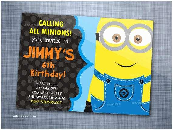 Minion Birthday Party Invitations Despicable Minion Colorful Chalkboard From Starwhite007 On