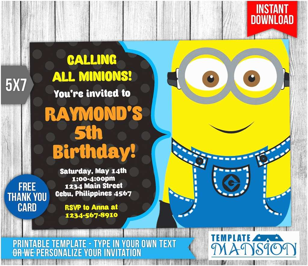graphic relating to Minions Invitations Printable named Minion Birthday Get together Invites Minion Invitation Minion