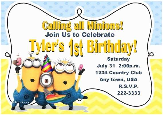 Minion Birthday Party Invitations Minions Birthday Invitations