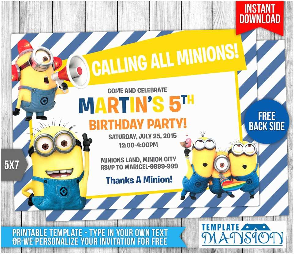 Minion Party Invitations Minions Birthday Invitation 7 by Templatemansion On