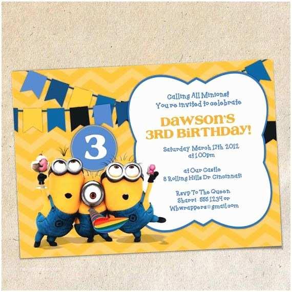 Minion Party Invitations Minions Chevron Bunting Invitation Template Instant