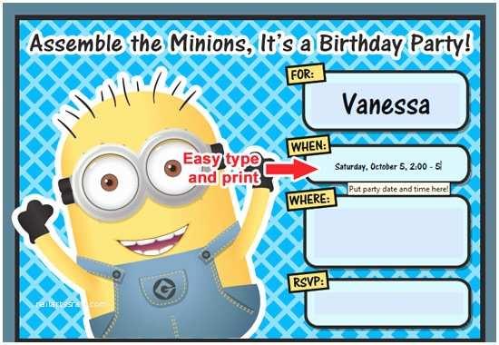 Minions Birthday Invitations Free Printable Despicable Me Minion Birthday Invitation