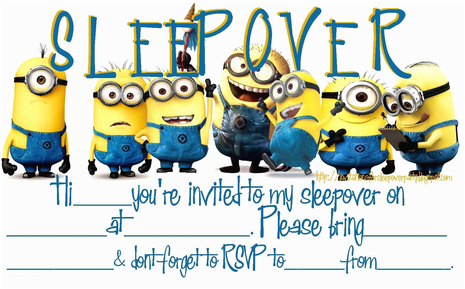 Minions Birthday Invitations Invitations for Sleepover Party