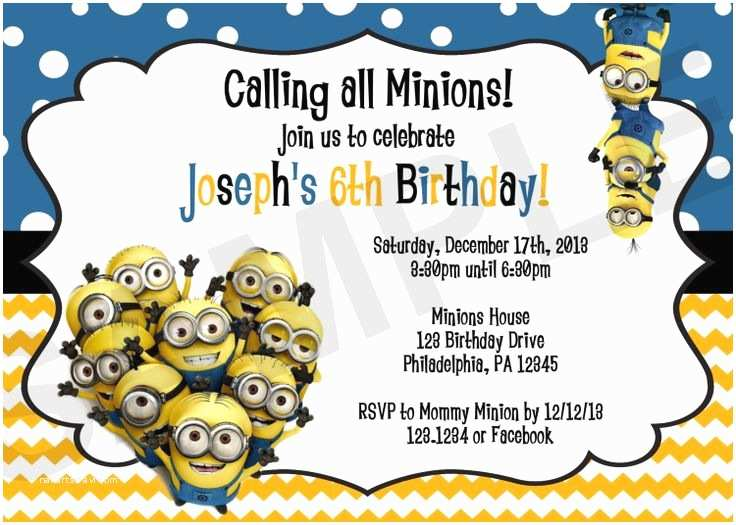 Minions Birthday Invitations Minion Birthday Invitation Digital File