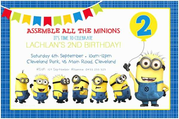 Minions Birthday Invitations Minion Birthday Party Invitations