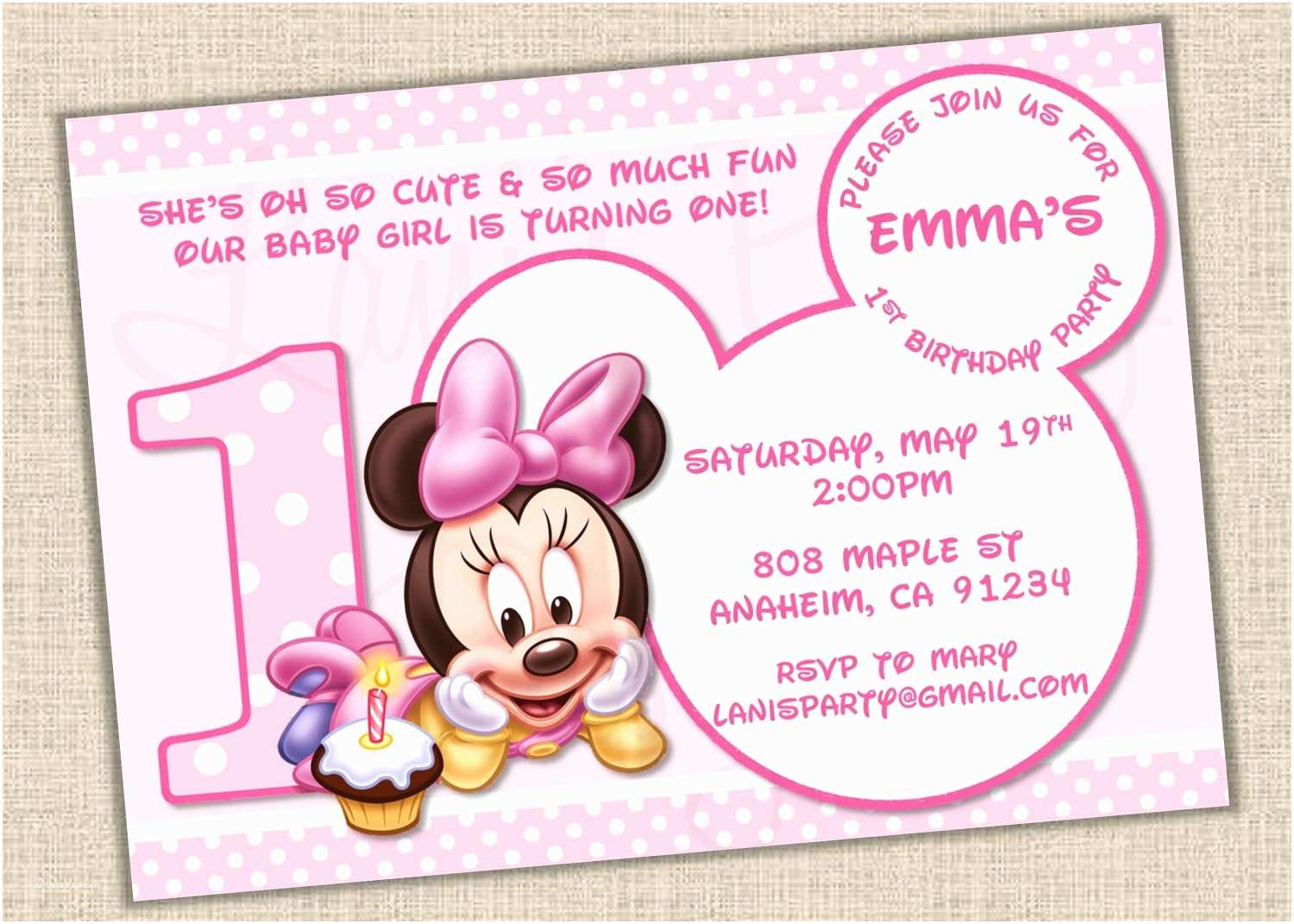 Minnie Mouse 1st Birthday Invitations Baby