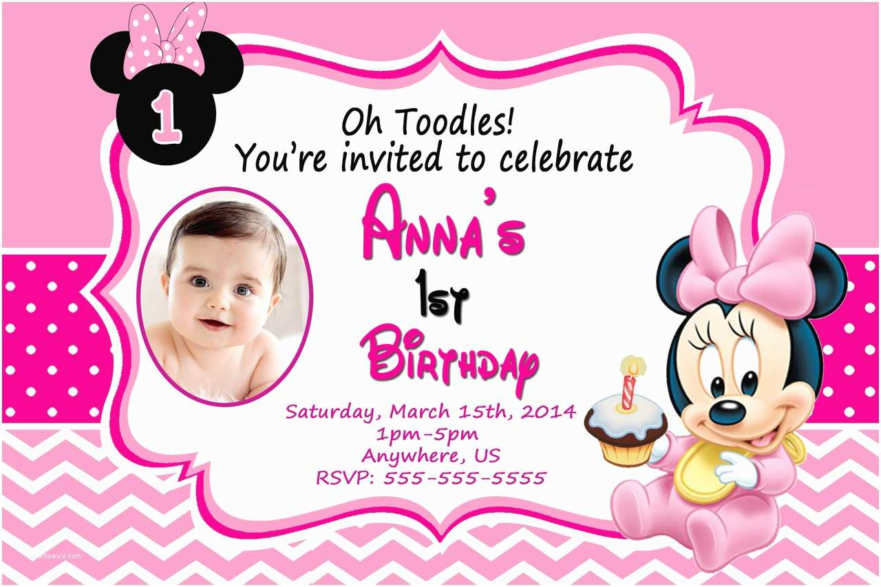Minnie Mouse 1st Birthday Invitations Baby Minnie Mouse 1st Birthday Invitations